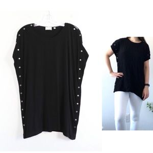 Wilfred Free Aritzia black tunic side snap buttons